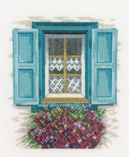 Window With Blue Shutters Cross Stitch Kit